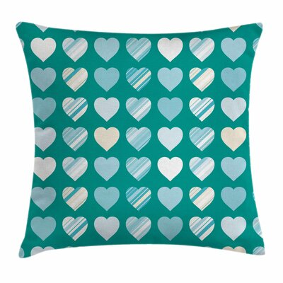 Valentines Day Heart Figures Square Pillow Cover Size: 16 x 16
