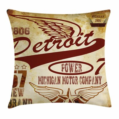 Detroit Decor Vintage Michigan Square Pillow Cover Size: 24 x 24