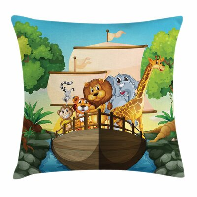 Zoo Floating Boat with Animals Square Pillow Cover Size: 24