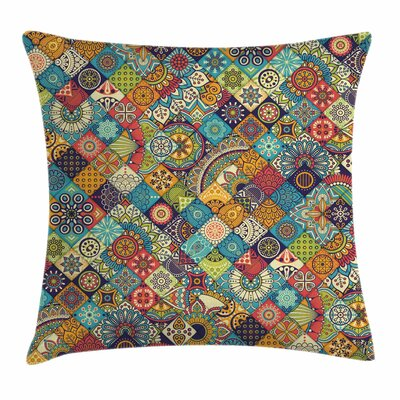 Bohemian Checkered Indian Folk Square Pillow Cover Size: 18 x 18