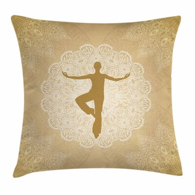 Yoga Indian Mandala Man Posture Square Pillow Cover Size: 16 x 16