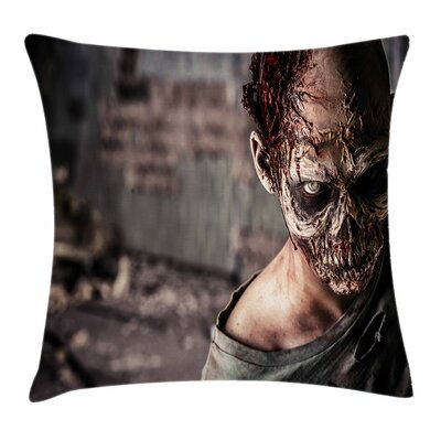Zombie Decor Creepy Look Killer Square Pillow Cover Size: 24 x 24