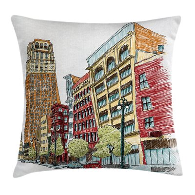 American Cityscape Grunge Art Square Pillow Cover Size: 20 x 20
