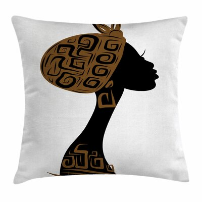 African Woman Headscarf Profile Square Pillow Cover Size: 18 x 18