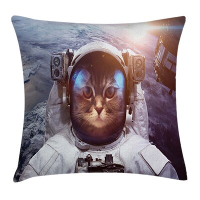 Cat Space Satellite Eclipse Square Pillow Cover Size: 16 x 16