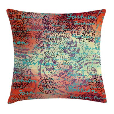 Grunge Indian Paisley Square Pillow Cover Size: 24 x 24