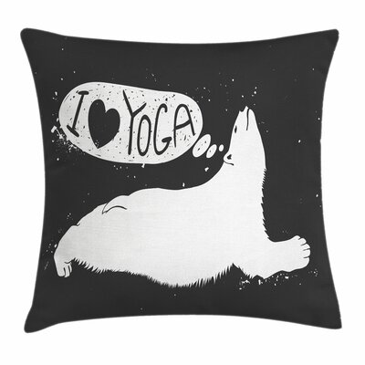 Yoga Cute Polar Bear Grunge Square Pillow Cover Size: 24