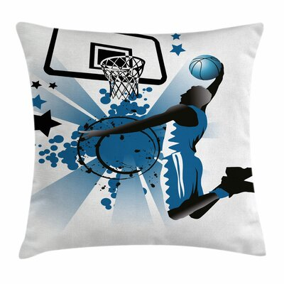 Teen Room Decor Jumping Player Square Pillow Cover Size: 24 x 24