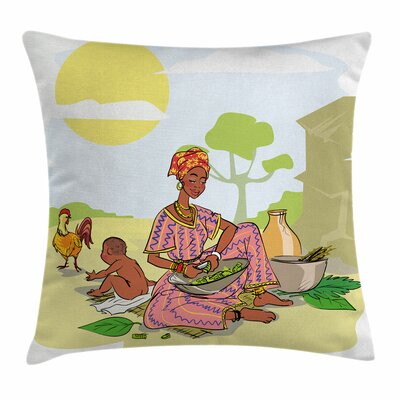 African Woman Mother Baby Cook Square Pillow Cover Size: 18 x 18