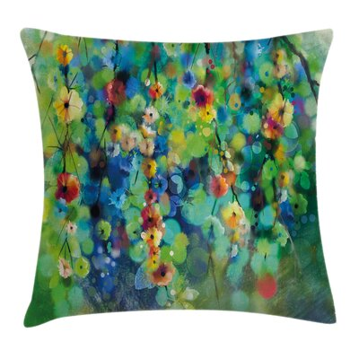 Colorful Flower on Tree Square Pillow Cover Size: 16 x 16