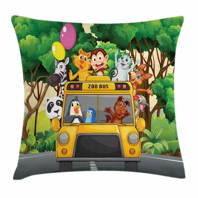 Zoo Animals Balloons Bus Travel Square Pillow Cover Size: 16 x 16