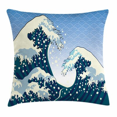 Japanese Wave Ocean Wind Art Square Pillow Cover Size: 16 x 16, Color: Blue