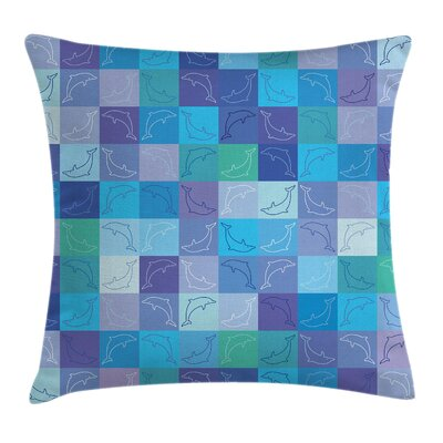 Nautical Collage of Dolphins Square Pillow Cover Size: 20 x 20