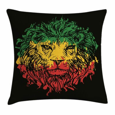 Rasta Grunge Lion Head Portrait Square Pillow Cover Size: 24 x 24