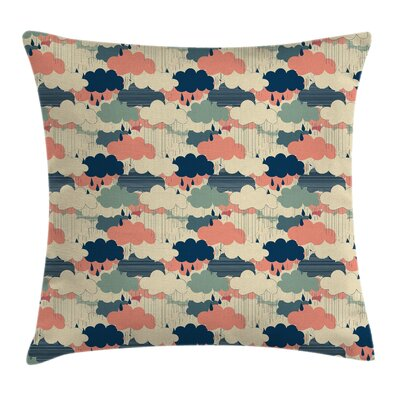 Cartoon Rain Colorful Clouds Square Pillow Cover Size: 16 x 16