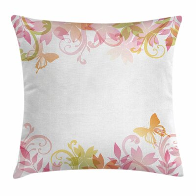 Pastel Floral Spring Wreath Square Pillow Cover Size: 16 x 16