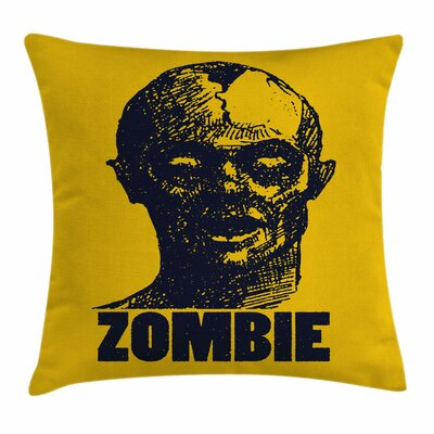 Zombie Decor Dead Man Portrait Square Pillow Cover Size: 16 x 16