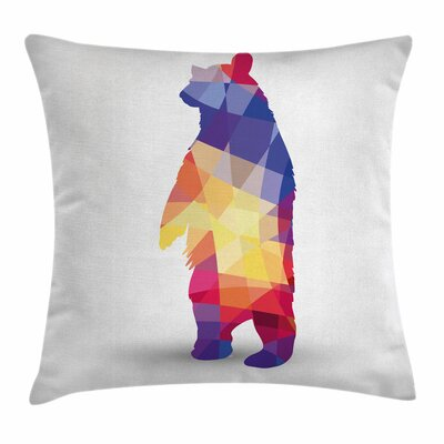 Bear Fractal Silhouette Square Pillow Cover Size: 18 x 18