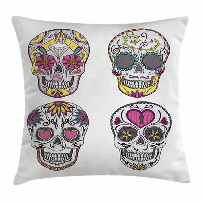 Sugar Skull Mexican Skulls Set Square Pillow Cover Size: 16 x 16