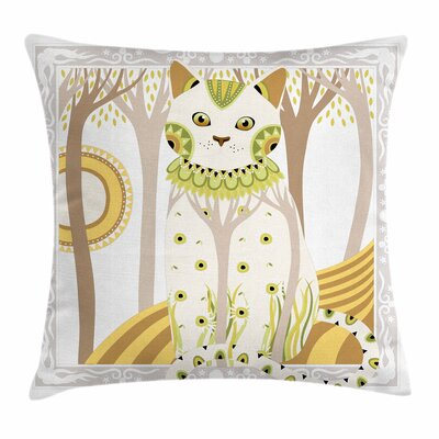 Cat Magic Kitty Ethnic Ornate Square Pillow Cover Size: 16 x 16
