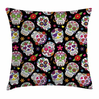 Sugar Skull Festive Ritualistic Square Pillow Cover Size: 18 x 18