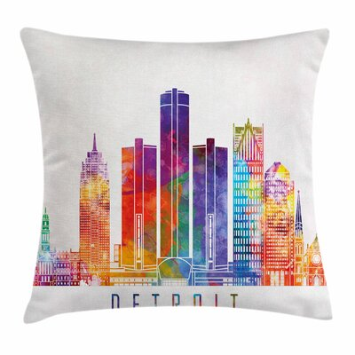 Detroit Decor Vibrant Buildings Square Pillow Cover Size: 16 x 16