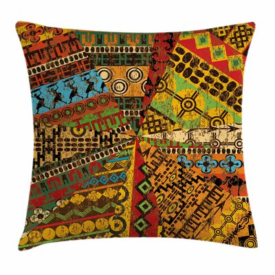 African Grunge Ethnic Motifs Square Pillow Cover Size: 16 x 16