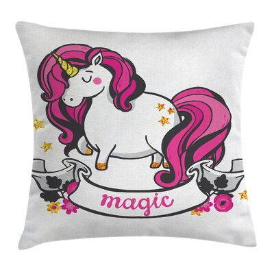 Unicorn with Hair Square Pillow Cover Size: 18 x 18