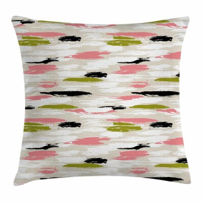 Thick Brushstrokes Stripes Square Pillow Cover Size: 18 x 18