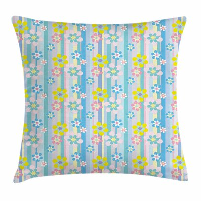 Pastel Abstract Spring Daisies Square Pillow Cover Size: 18 x 18