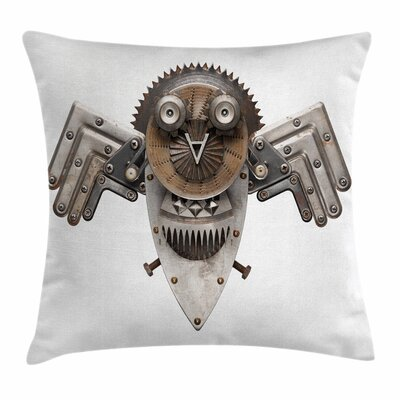 Industrial Decor Owl Figure Square Pillow Cover Size: 24 x 24