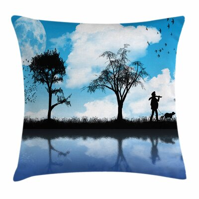 Man Dog Lake Tree Moon Square Pillow Cover Size: 16 x 16