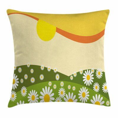 Daisy Flower Field Sun Square Pillow Cover Size: 18 x 18