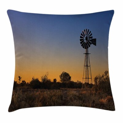 Windmill Decor Sunset Outdoors Square Pillow Cover Size: 18 x 18