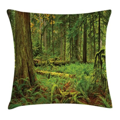 Forest Woodland Bushes Moss Square Pillow Cover Size: 18 x 18