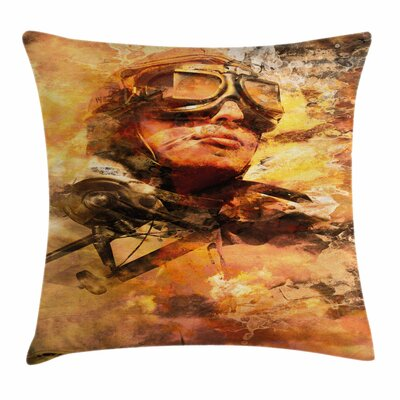Vintage Airplane Pilot Portrait Square Pillow Cover Size: 18