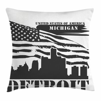 Detroit Decor Flag Grunge City Square Pillow Cover Size: 16 x 16