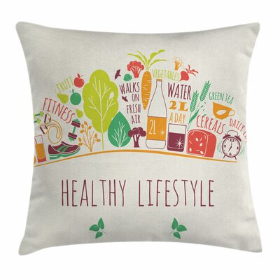 Fitness Cute Body-Care Icons Square Pillow Cover Size: 18 x 18