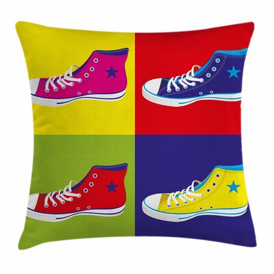 Teen Room Decor Retro Shoes Square Pillow Cover Size: 18 x 18