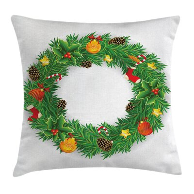 Christmas Evergreen Wreath Art Square Pillow Cover Size: 20 x 20