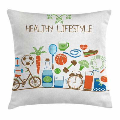 Fitness Healthcare Wellness Square Pillow Cover Size: 18 x 18