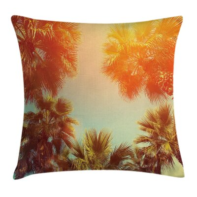 Tropical Rest Under Trees Square Pillow Cover Size: 16 x 16