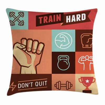 Fitness Training Achievement Square Pillow Cover Size: 20 x 20