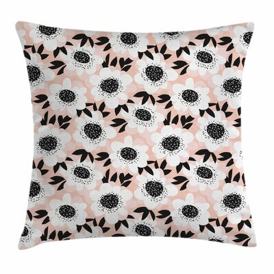 Floral Pastel Cute Soft Square Pillow Cover Size: 16 x 16
