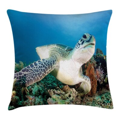 Turtle Coral Square Pillow Cover Size: 18 x 18