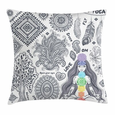 Yoga Bohemian Spiritual Words Square Pillow Cover Size: 20 x 20
