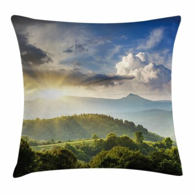 Sunrise Woodland Square Pillow Cover Size: 16 x 16