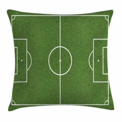 Teen Room Decor Soccer Stadium Square Pillow Cover Size: 16