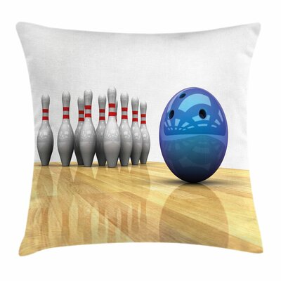 Bowling Party Objects on Floor Square Pillow Cover Size: 16 x 16