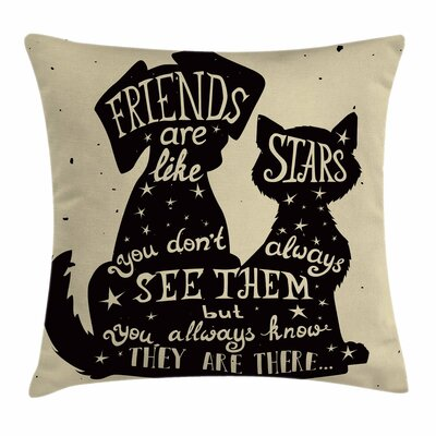 Cat Dog Friends Square Pillow Cover Size: 16 x 16